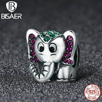925 Sterling Silver Mild Animal Lucky Elephant Charms Beads Fit Original Pan Bracelet Pendant Authentic Jewelry