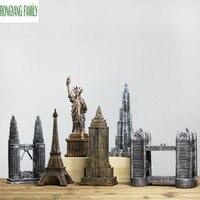 Vintage Home Decorations Figurines World Famous Landmark Eiffel Tower Paris Building Model Crafts Ornaments Desktop Miniatures