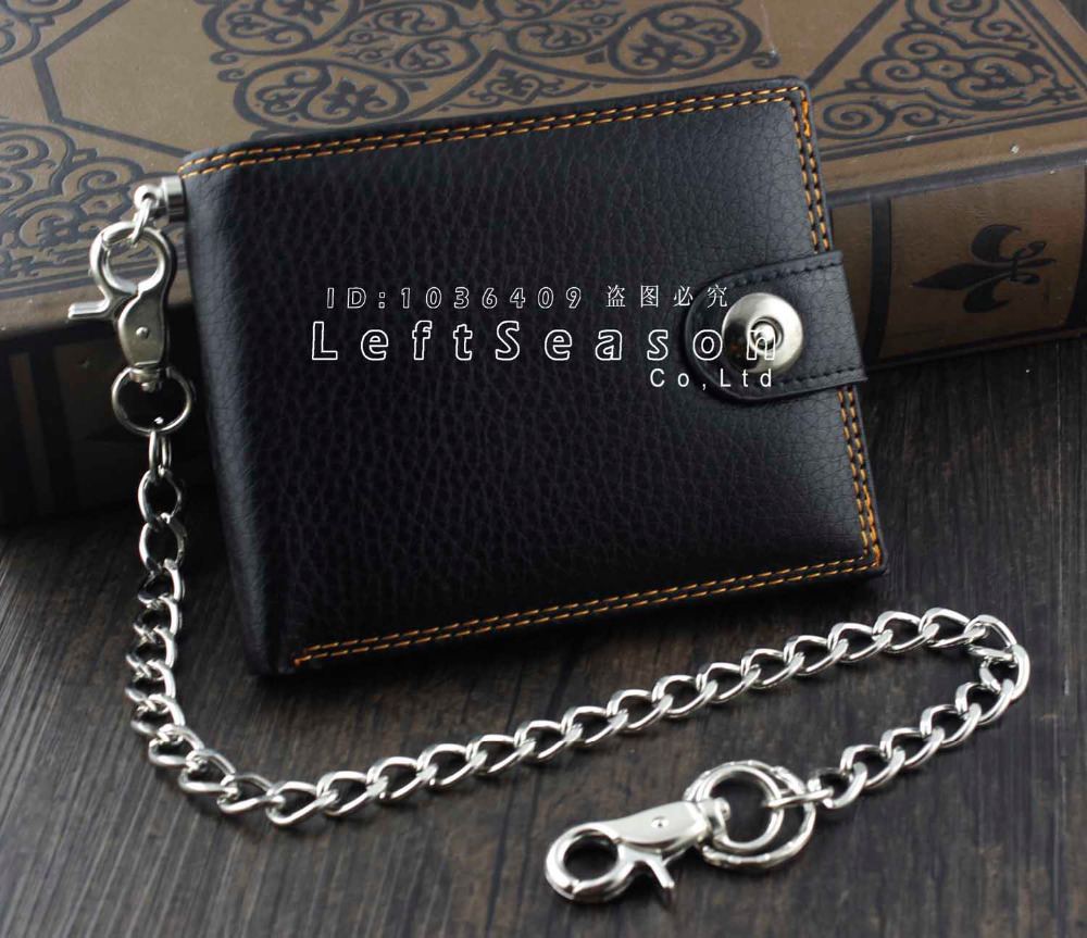 Vintage Mens Boys Snap Many Card Slots Leather Chain