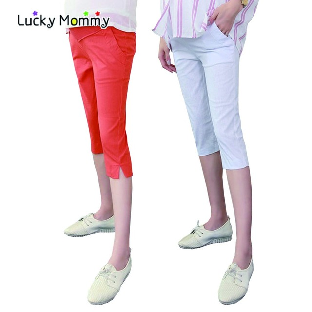 New Summer High Waist Maternity Capri Pants for Pregnant Women Fashion Solid Color Maternity Clothes Pregnancy Capris 15 Styles