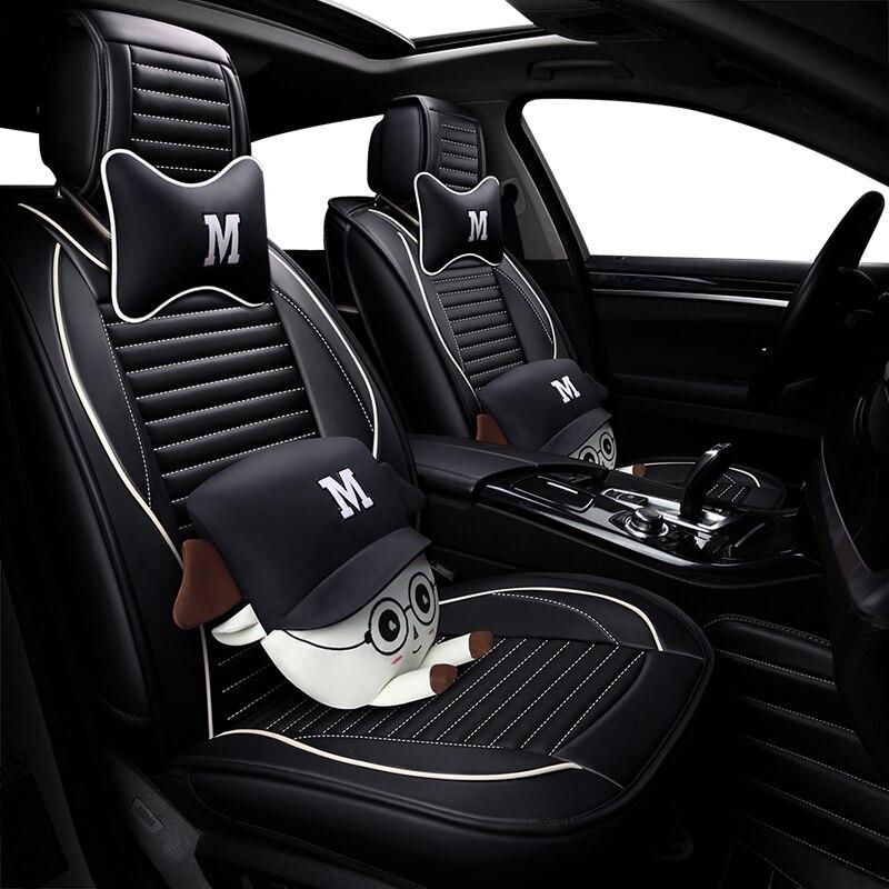 5 seats/set leather covers for car seats ibiza cartoon protector cushions for e46 peugeot 206 kia ceed auto interior accessories цена 2017