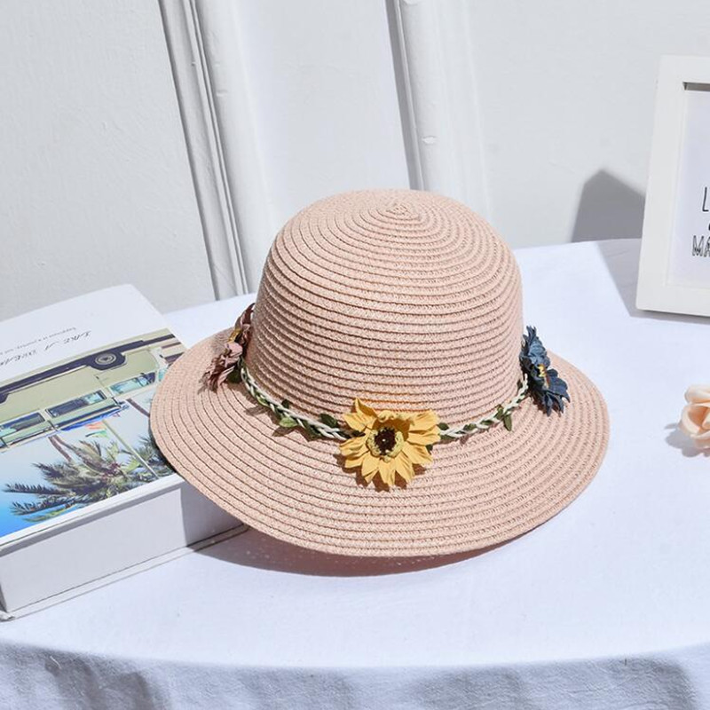 <font><b>h002</b></font> Fashionable Outdoor Sunshade Hat Lovely Florets Decorated Straw Hat image