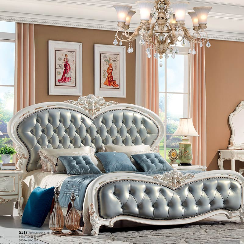 US $999.0 |Genuine leather Elegant Contemporary solid wood King Bed-in  Bedroom Sets from Furniture on AliExpress - 11.11_Double 11_Singles\' Day