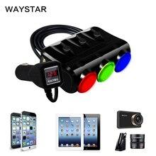 WAYSTAR 3 in 1 Cigarette Lighter Power Adapter Socket Splitter 3.1A 12V-24V USB Car Charger for iPhone iPad Car-Charger DVR GPS