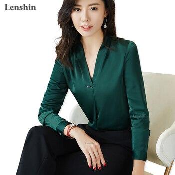 c72e312be2 Lenshin nueva tela de alta calidad con cuello en V camiseta para las mujeres  blusa elegante Tops de manga larga dama de oficina ropa de trabajo