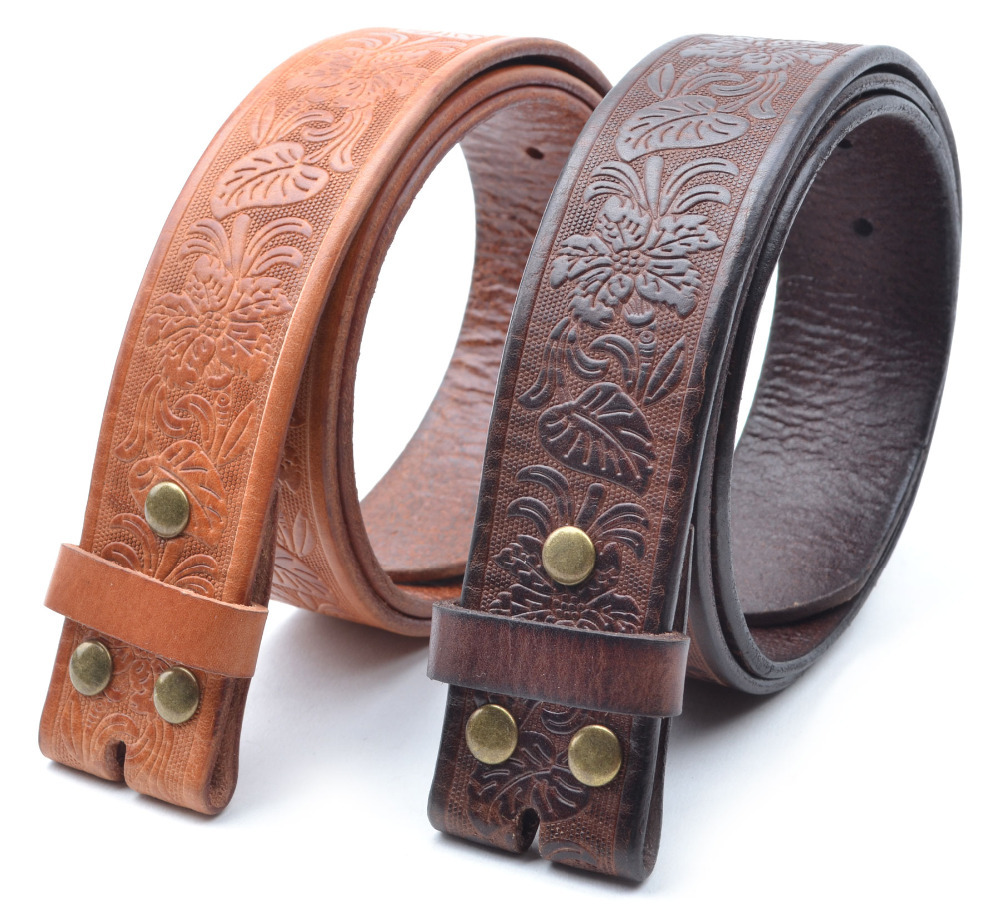w// Snaps for Interchangeable Buckles Western Embossed BLACK Leather Belt Strap