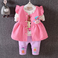 2016 spring autumn new 100% cotton baby girl sets 3pcs/sets of children's clothing brand girls' Sportswear suits Free Shipping
