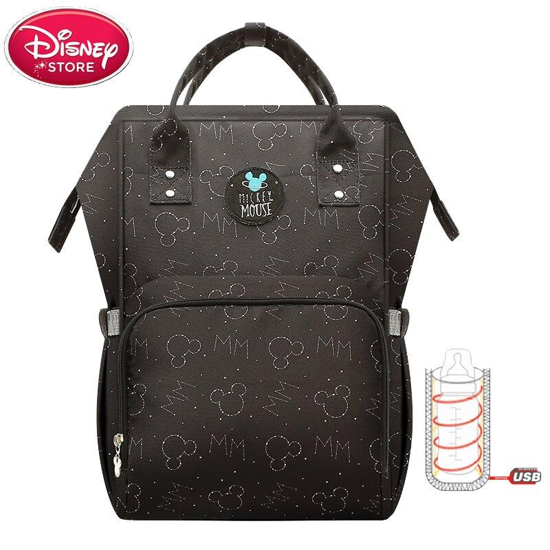 Disney Diaper Bags USB Bottle Insulation Bag Mummy Maternity Nappy Thermal Baby Feeding Minnie Mickey Oxford Backpack Handbag