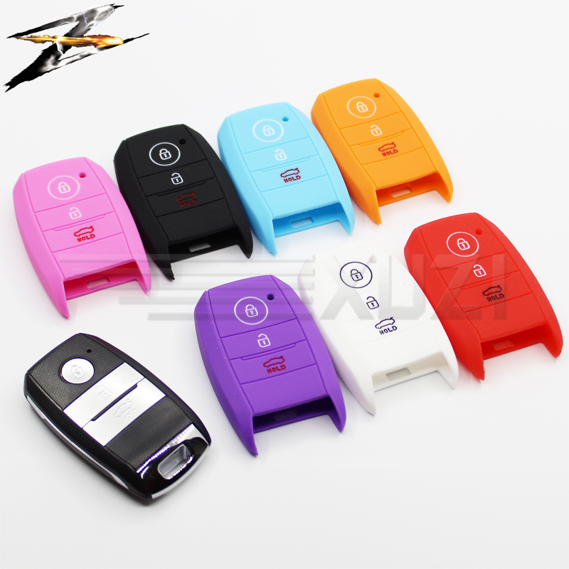 Silicone 3 Buttons Smart Car Key Cover Case Cover Skin Protector For KIA K5 K3 K4 KX5 Carnival Shuma Cerato Ceed Rio 5 top layer leathe key case key bag key cover for kia ceed sorento cerato k3 k3s k4 k5 kx3 sportage kx5 3 buttons remote control