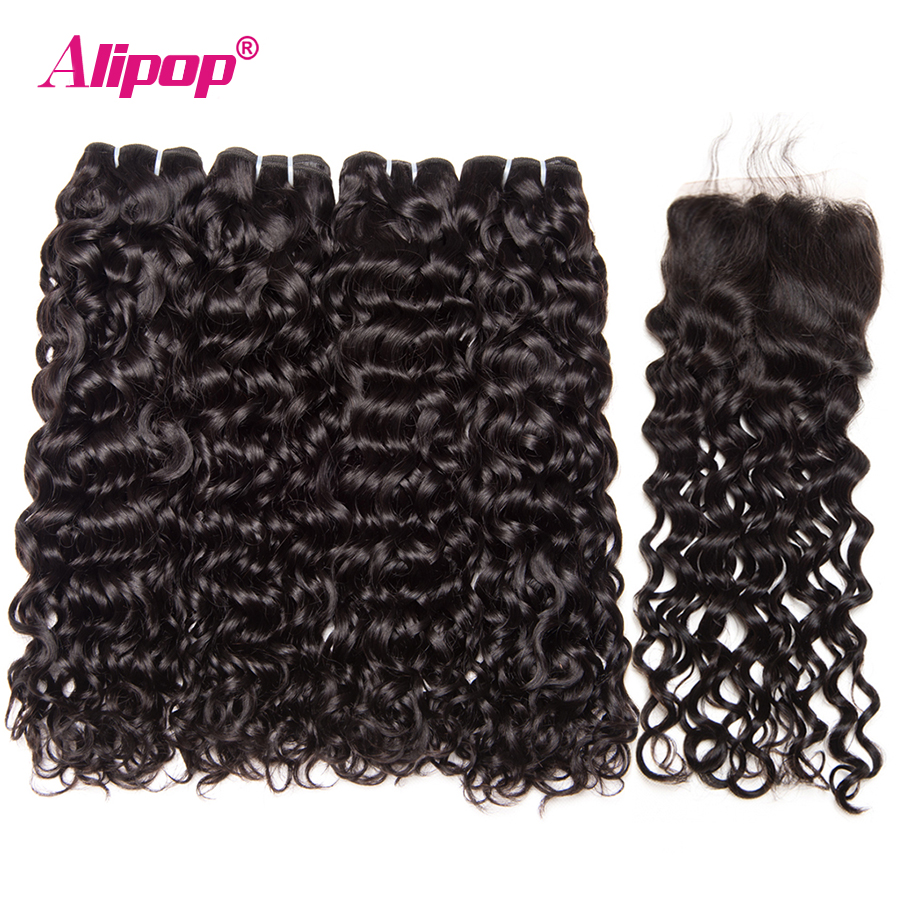 Malaysian Hair Water Wave Bundles With Closure Human Hair 3 Bundles With Closure Alipop 4 x4