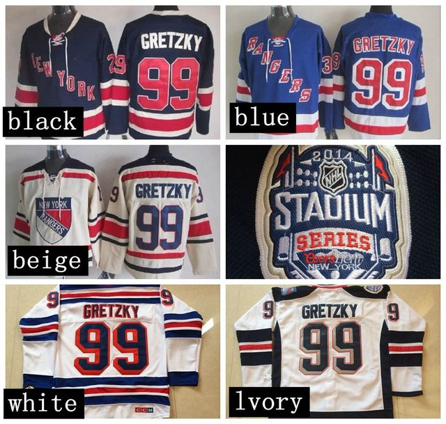 Cheap New York Rangers Ice Hockey Jersey  99 Wayne Gretzky Blue white NY  Rangers Hockey Jerseys Embroidery Logos 8a8537cfc3f