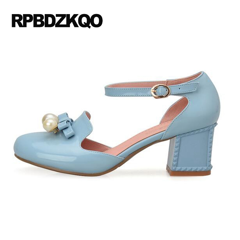 Size 4 34 Blue Pumps Cute Pearl High Heels Shoes Closed Ladies Sandals Plus Chunky Ankle Strap 10 42 Medium Bow 2017 33 Round round toe beige strap ladies metal high heels medium chunky modern block slingback size 4 34 sandals shoes 2017 summer pumps new