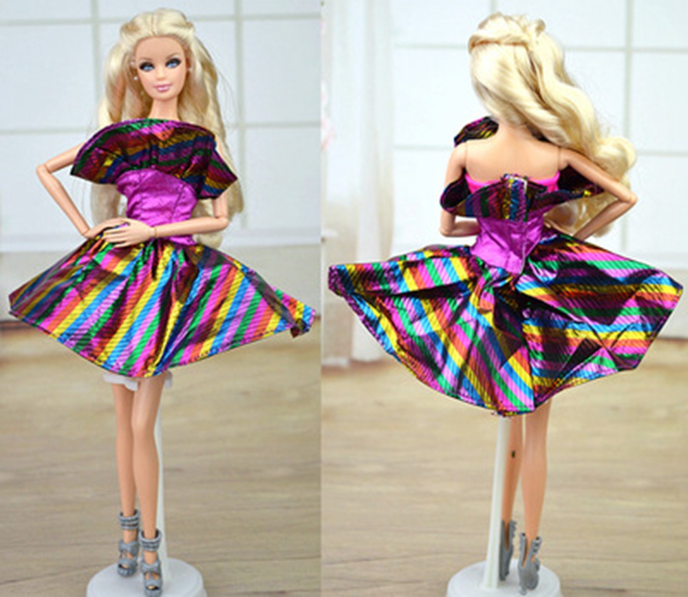 Doll Accessories Purple Rainbow Clothes Dress For Barbie Doll House Dress  Party Gown Short Dresses Vestidos. Compare Prices on Barbie Doll House  Online Shopping Buy Low Price