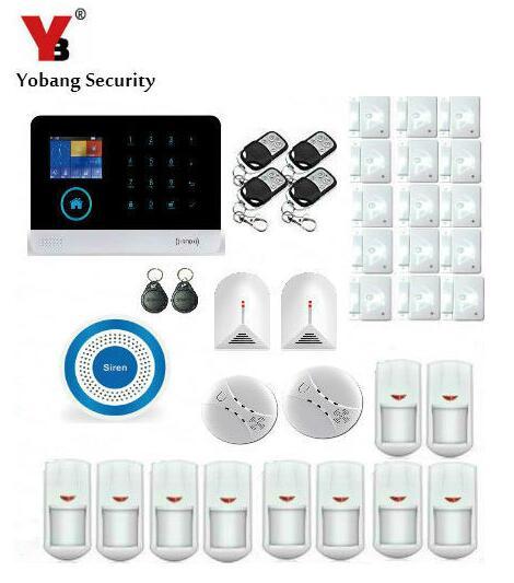 Yobang Security 2.4インチwifi gprsホームワイヤレスgsm警報システム金属リモコン警報セキュリティシステム+ 2ピースガラスセンサー -