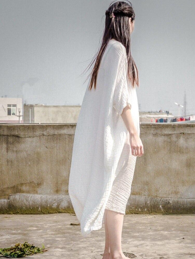 Grands Lâche Moitié Robe 2018 Broderie N216 Blanc Manches Femmes Respirant Chantiers Nouveau Confortable D'été 0RYxqU