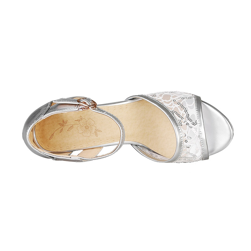Image 3 - Phoentin 2019 summer mesh women high sandals silver platform sandals strap patchwork PU leather woman peep toe shoes sexy FT620High Heels   -