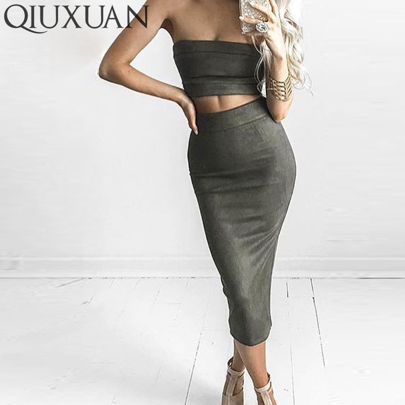 Sexy Off Shoulder Strapless Top And Long Suede Dress Two Piece Set Dress 2017 Fashion Women