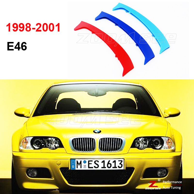 3D M Front Grille Trim Strips Plastic grill Cover Stickers For 1998-2001 BMW 3 series E46 318i 320i 320d 325i 330i 4 Door ONLY