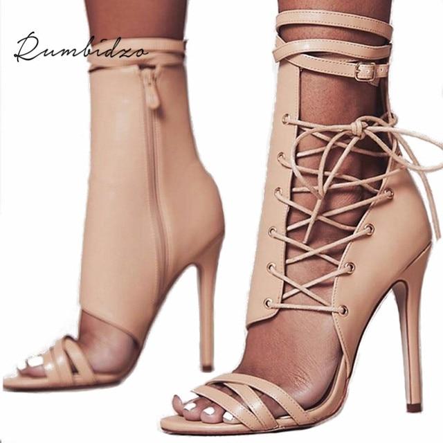 Rumbidzo женские босоножки 2018 г. модные летние сандалии в гладиаторском стиле женская обувь Кружево до Ремешок на щиколотке Обувь для торжеств на высоком каблуке Sapatos