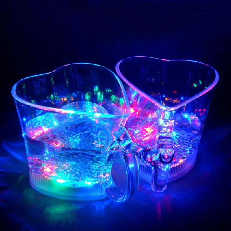 2pcs Christmas LED flash luminous cup bling led beer cup love shape Couple water cup for