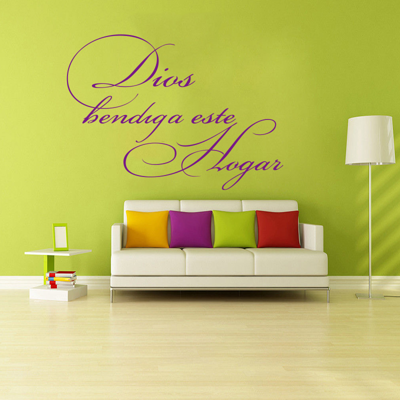 Sticker mural Spanish quote Christian God bless this vinyl wall applique art inspirational sticker mural home decoration DD0181