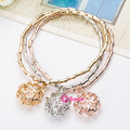 3pcs/Set High Quality Crystal Bracelets Bangles For Women Hot Sale Gold Silver Plated 3D Flower Bracelet Elastic Charm Pulseras