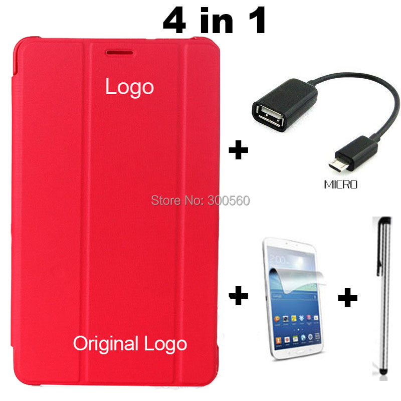4 in 1,Pu Leather Case Stand Cover For Samsung Galaxy Tab 3 7.0 7 T210 T211 P3200+ Screen Protecotor + Stylus + OTG cable