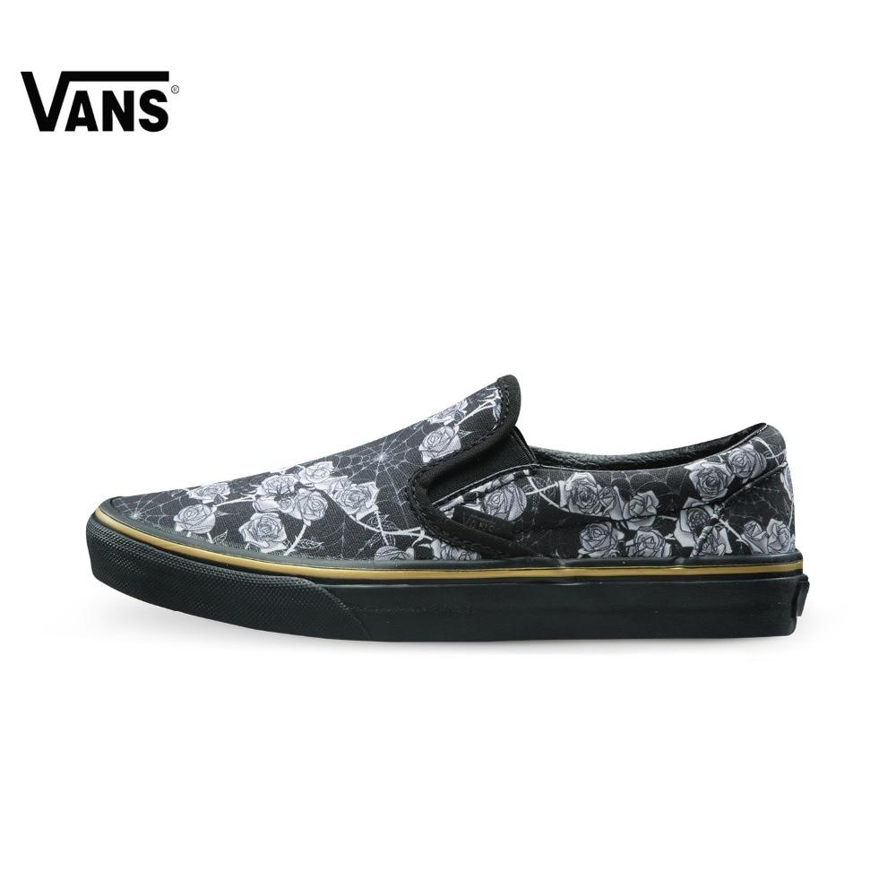 Original Vans Shoes New Black Flower Printed Low-Top Elastic Band Sport Skateboarding Shoes Punk Canvas Sport Shoes Sneakers цена 2017
