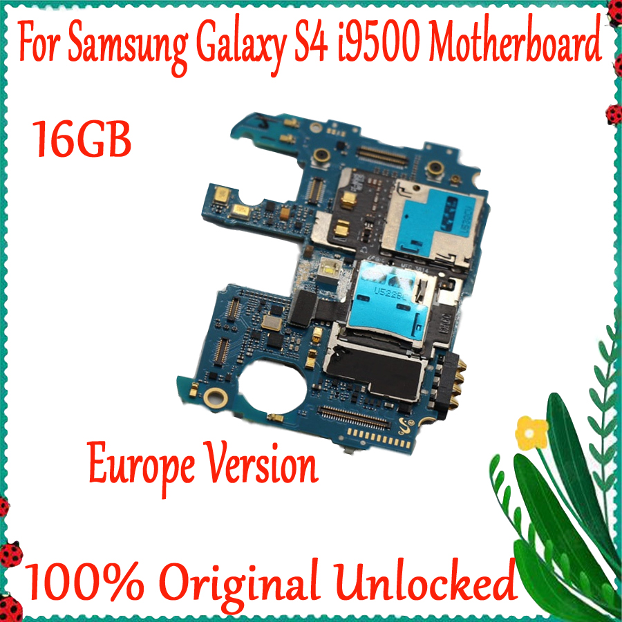 Full Working Used Unlocked For <font><b>Samsung</b></font> <font><b>Galaxy</b></font> <font><b>S4</b></font> i9500 Motherboard Europe Version Logic Mother <font><b>Board</b></font> MB Plate image