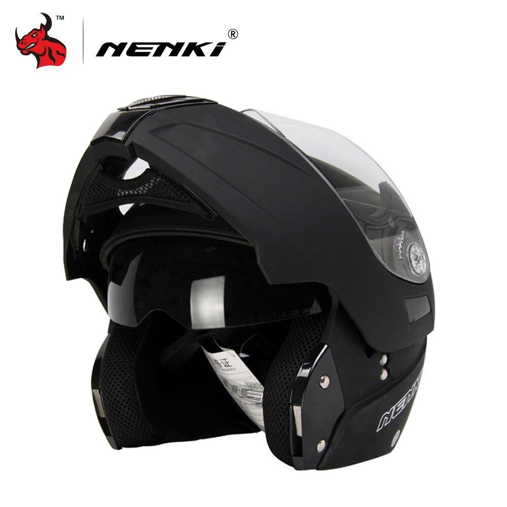 NENKI Motorcycle Full Face Helmet Safe Flip Up Motorcycle Helmet With Inner Sun Visor Black Motorcycle Racing Off Road Helmet