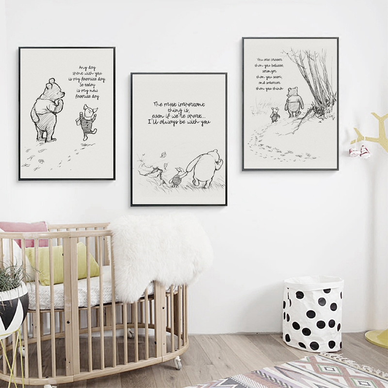 HTB1R7q2UCzqK1RjSZFHq6z3CpXaN Winnie The Pooh Quotes Canvas Posters and Prints Classic Cartoon Movie Art Painting Black White Picture Kids Room Wall Art Decor