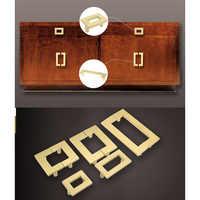 2Pcs/Lot Rectangle Solid Brass Cupboard Closet Cabinet Door Finger Pull Handle Face Mount Symmetrical Pair U Design Gold