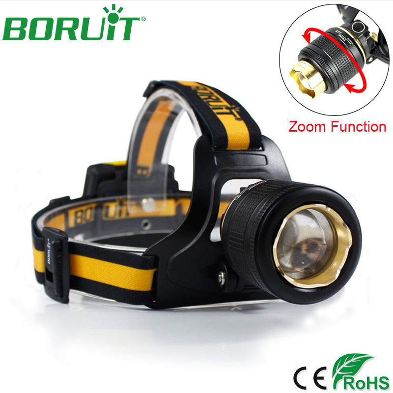 BORUiT 1000lm XML L2 LED Headlamp Flashlight Zoomable Headlight Portable Lantern Camping Hunting Head Torch Light