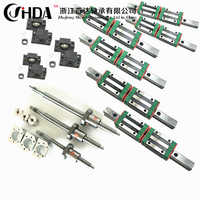 Free shipping cnc set HGR20 Square Linear guide sets 12pcs HGH20CA +SFU605/1610 1605 ball screw+BK BF12 +Shaft coupling