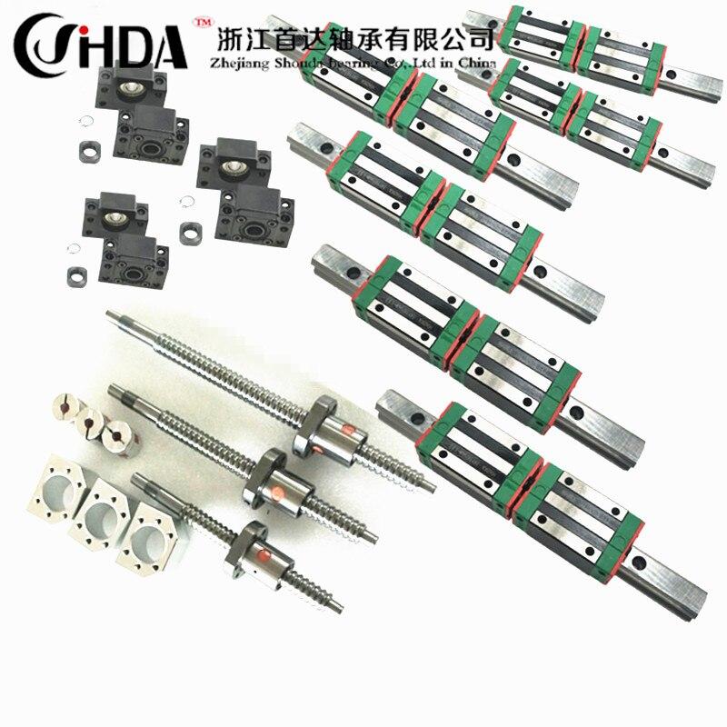 Frete grátis conjunto cnc guia Linear Quadrado define 12 HGR20 pcs HGH20CA + SFU605/1610 1605 bola parafuso + BK BF12 + acoplamento Do Eixo