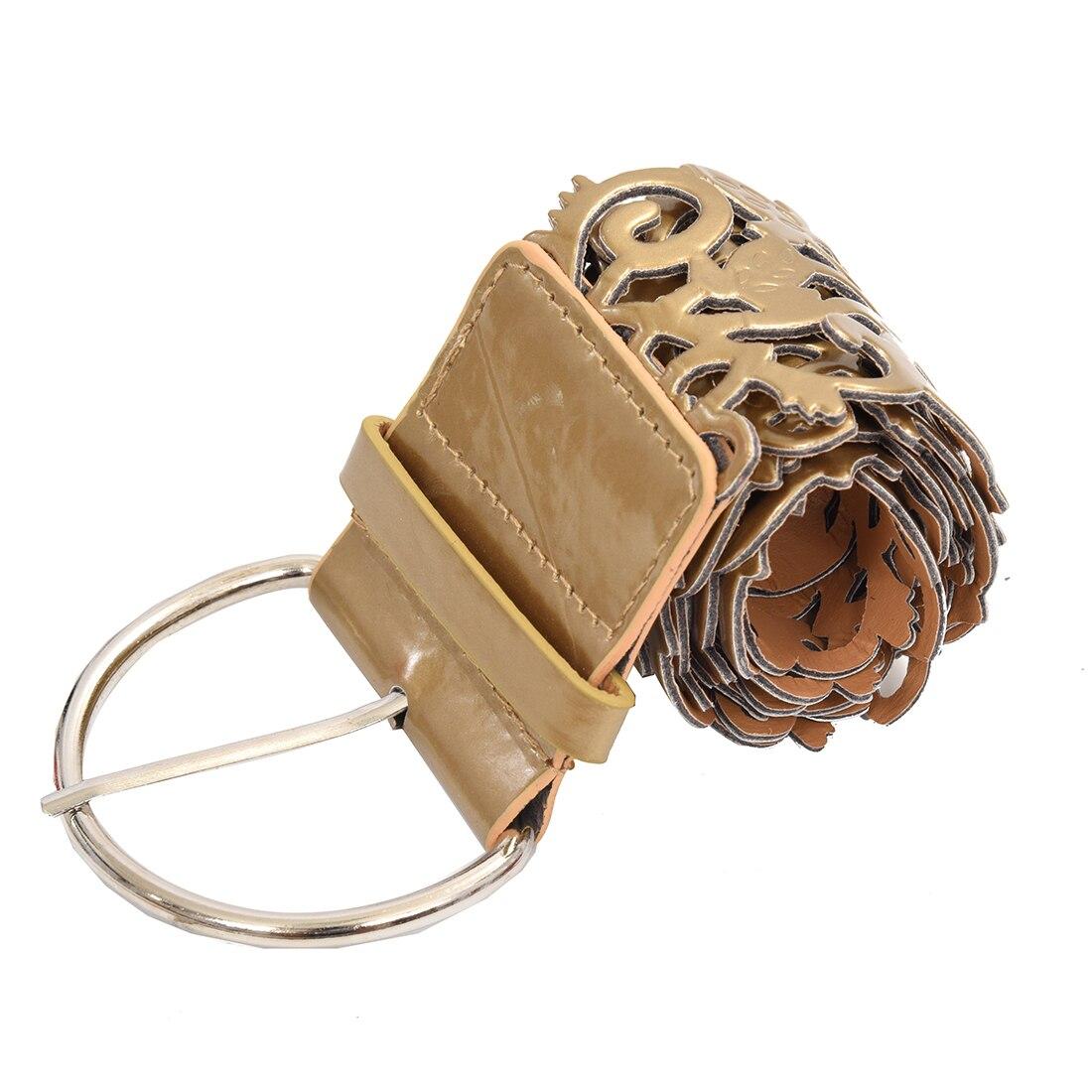 Gold Fashion Vintage Antique Sweet Leather Openwork Flower Shape Waist Belt For Women