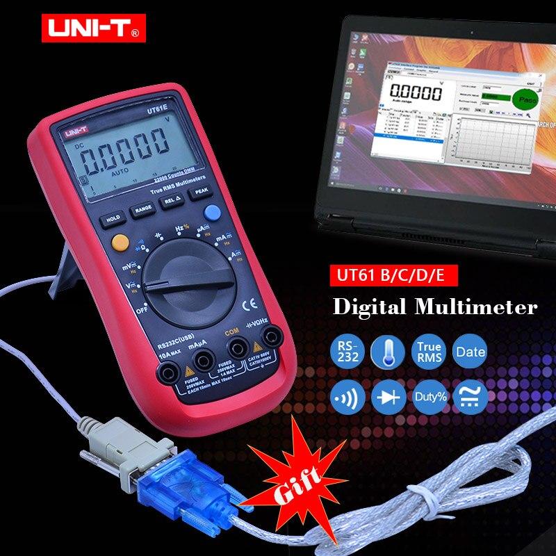 UNI-T UT61E Auto Gamma Multimetro Digitale A Vero RMS UT61A/B/C/D della stretta di Dati Diodo di prova buzzer continuità Multimetro + Regalo