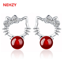 New Lady fashion temperament princess silver stud earrings black delicate natural red agate jewelry cute little