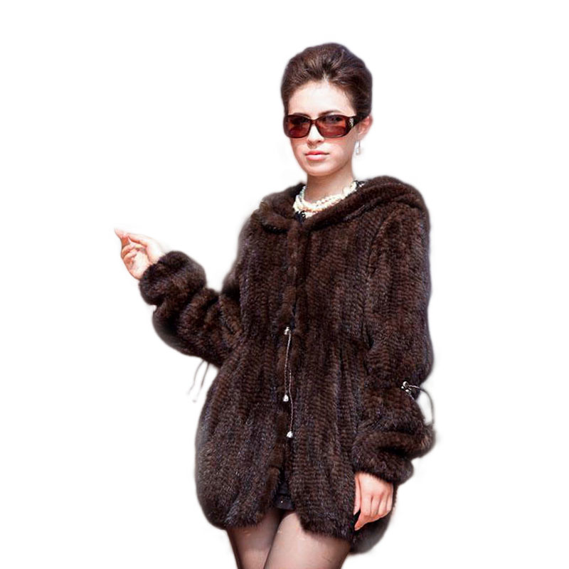 Di modo delle donne cappotto di pelliccia di visone Sottile knit cappotto nel lungo tratto Anche il cappello di pelliccia del cappotto Spedizione Gratuita