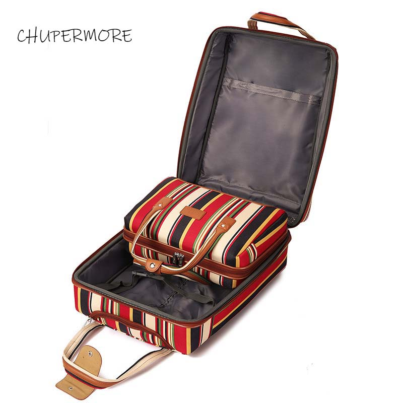 Chupermore 20 Inch Oxford Rolling Luggage Set Spinner Women Brand Suitcase Wheels Stripe Carry On Travel Bags
