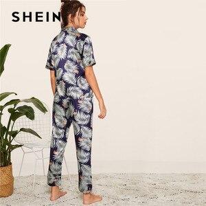 Image 2 - SHEIN プリントサテン春夏パジャマ女性服 2019 半袖長ズボンパジャマカジュアルポケット女性のパジャマセット