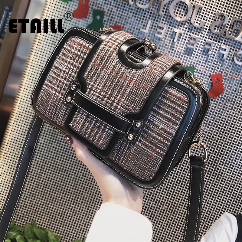 ETAILL 2018 Retro Wool Plaid Women Messenger Bags for Girls England Grid Shoulder Bag Small Ladies