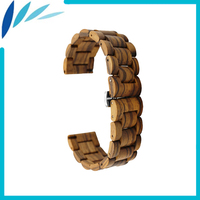 Wooden Watchband 22mm for IWC Watch Stainless Steel Butterfly Buckle Quick Release Strap Wrist Loop Belt Bracelet Brown + Tool