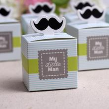 30 pieces My little Man Cute Mustache Blue & Green Candy Box Birthday party decorations kids boys souvenirs wedding favors gifts