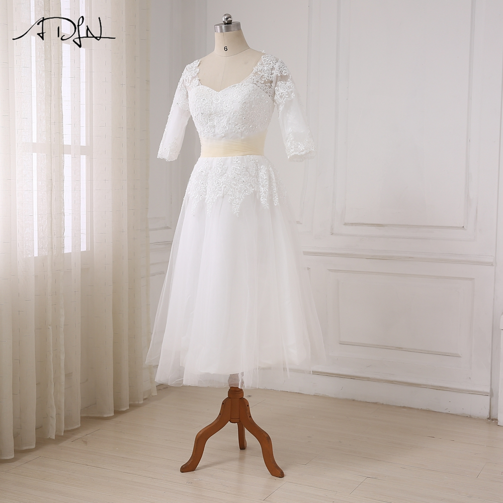 Half Sleeves Tea Length Beaded Applique Tulle Short Wedding Dress
