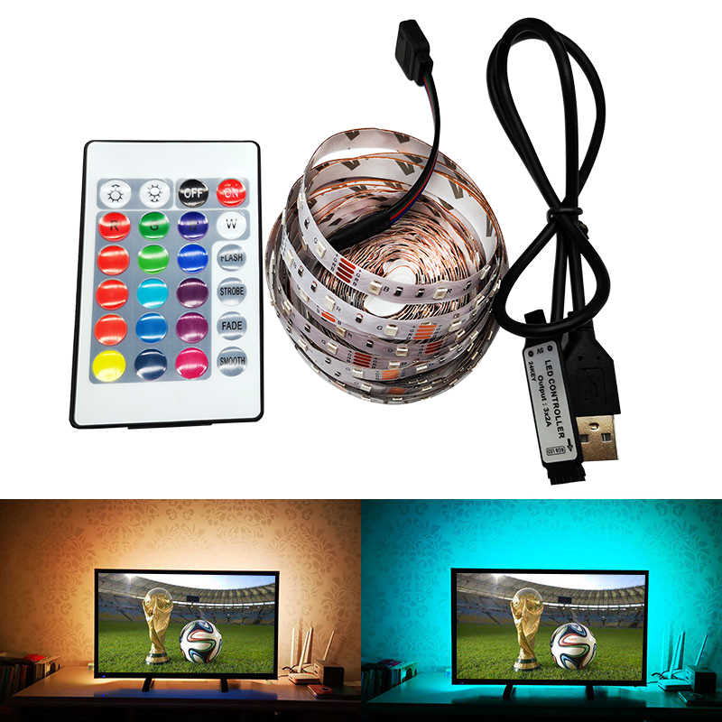 2 Pcs/5 V USB Power LED Lampu Strip 2835 3528 SMD Desktop PC TV Layar Lampu Latar Pencahayaan 1 M 2 M 3 M 4 M RGB/Putih/Warm White