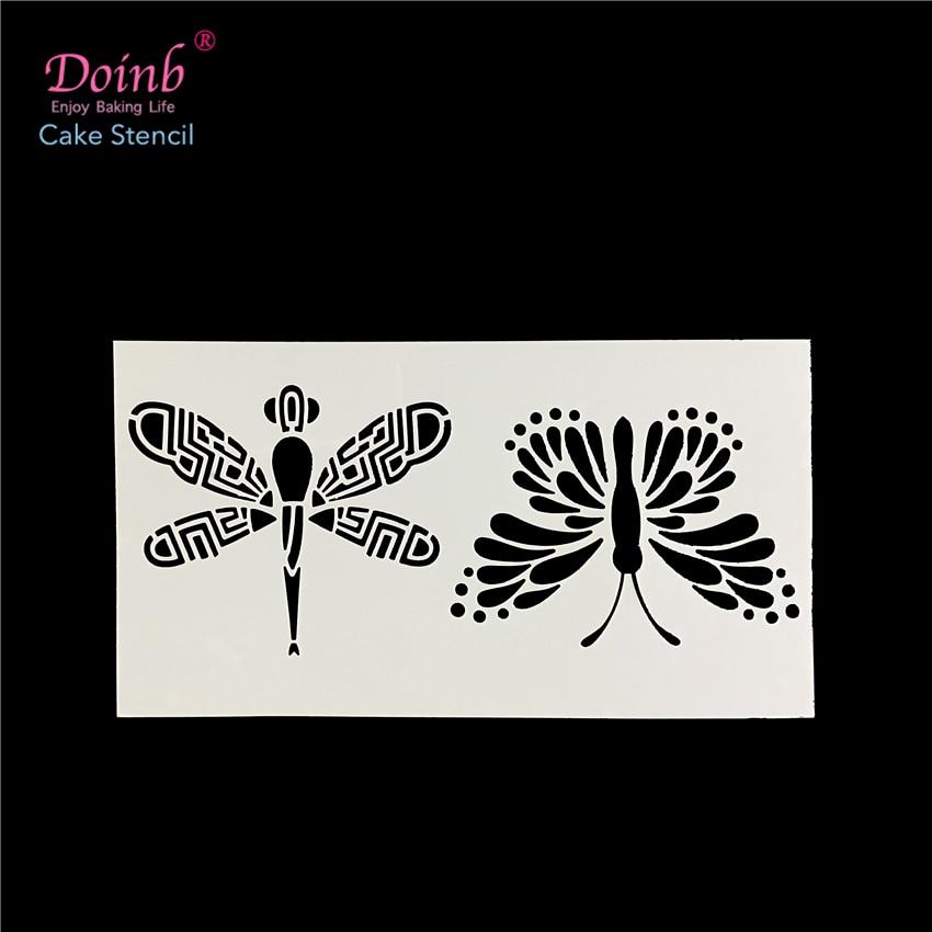 DIY Тваринний метелик & Dragonfly настінний живопис трафарет пластиковий килимок для квітів торт цвіль кекс помадки випічки інструмент форми FQ4114