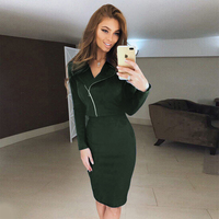 2017 Women Suede Suit Two Piece Set Long Sleeve Turn Down Collar Zipper Coat Plus Bodycon