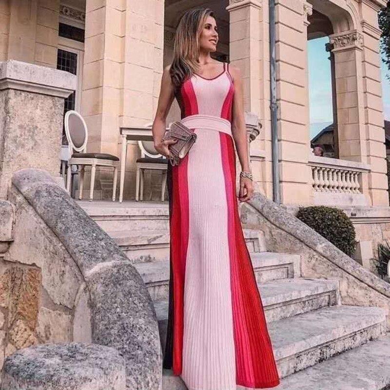 2018 nouvelle mode couleurs élégantes rouge Bandage femmes longue robe pour fête robe formelle mariage demoiselle d'honneur robes en gros