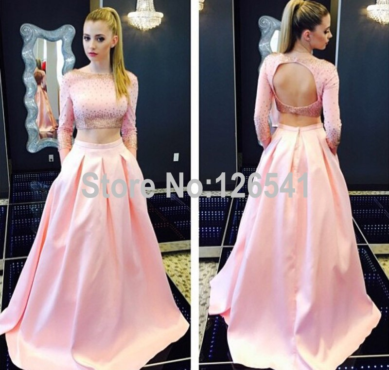 Sexy Backless A Line Prom Dress 2 Pieces Floor Length Long Sleeves ...
